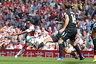 Arsenal forward Danny Welbeck (23) shoots for goal during the Premier League match between Arsenal and West Ham United at the Emirates Stadium, London, England on 22 April 2018. Picture by Bennett Dean.
