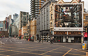 Looking at the City of London from  Shoreditch High Street during the coronavirus pandemic on the 4th May 2020 in London, United Kingdom.