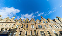 View of row of historic apartment buildings in Edinburgh Old Town, Scotland, UK