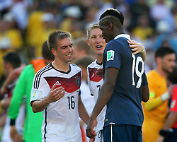 04.07.2014, Maracana, Rio de Janeiro, BRA, FIFA WM, Frankreich vs Deutschland, Viertelfinale, im Bild Lahm (left), Schweinsteiger (centre) from Germany and Paul Pogba from France during the quarters final // during quarterfinals between France and Germany of the FIFA Worldcup Brazil 2014 at the Maracana in Rio de Janeiro, Brazil on 2014/07/04. EXPA Pictures © 2014, PhotoCredit: EXPA/ Eibner-Pressefoto/ Cezaro<br /> <br /> *****ATTENTION - OUT of GER*****