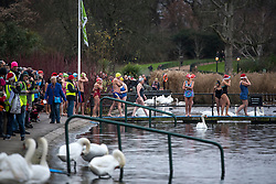 © Licensed to London News Pictures. 25/12/2016. London, UK. Swimmers prepare to enter the water. Members of the Serpentine Swimming Club brave the cold waters at the Serpentine Lake in Hyde Park, London to compete for the traditional Peter Pan Cup on Christmas Day, December 25, 2016. Photo credit: Ben Cawthra/LNP