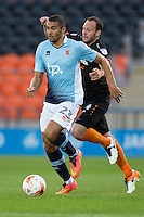 Blackpool's Colin Daniel holds off the challenge from Barnet's Sam Togwell<br /> <br /> Photographer Craig Mercer/CameraSport<br /> <br /> Football - The EFL Sky Bet League Two - Barnet v Blackpool - Tuesday 16th August 2016 - The Hive Stadium - London<br /> <br /> World Copyright © 2016 CameraSport. All rights reserved. 43 Linden Ave. Countesthorpe. Leicester. England. LE8 5PG - Tel: +44 (0) 116 277 4147 - admin@camerasport.com - www.camerasport.com