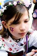 Girl age 10 dressed in folk costume of Sweden. Svenskarnas Dag Swedish Heritage Day Minnehaha Park Minneapolis Minnesota USA