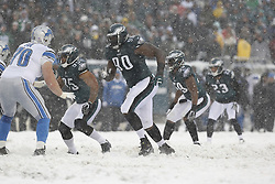 Philadelphia Eagles inside linebacker Mychal Kendricks #95 moves across the line of scrimmage during the NFL game between the Detroit Lions and the Philadelphia Eagles on Sunday, December 8th 2013 in Philadelphia. The Eagles won 34-20. (Photo by Brian Garfinkel)