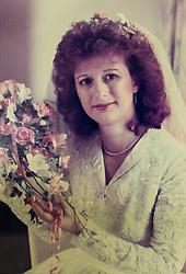 Alzheimer sufferer Yvonne Salomon photographed on the day she married husband Trevor in 1987. Pinner, London, March 12 2018.