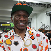 LAS VEGAS, NV - APRIL 14: Trainer Floyd Mayweather Sr. looks on as his son, WBC/WBA welterweight champion Floyd Mayweather Jr. (not pictured), works out at the Mayweather Boxing Club on April 14, 2015 in Las Vegas, Nevada. Mayweather will face WBO welterweight champion Manny Pacquiao in a unification bout on May 2, 2015 in Las Vegas.  (Photo by Alex Menendez/Getty Images) *** Local Caption *** Floyd Mayweather Sr.