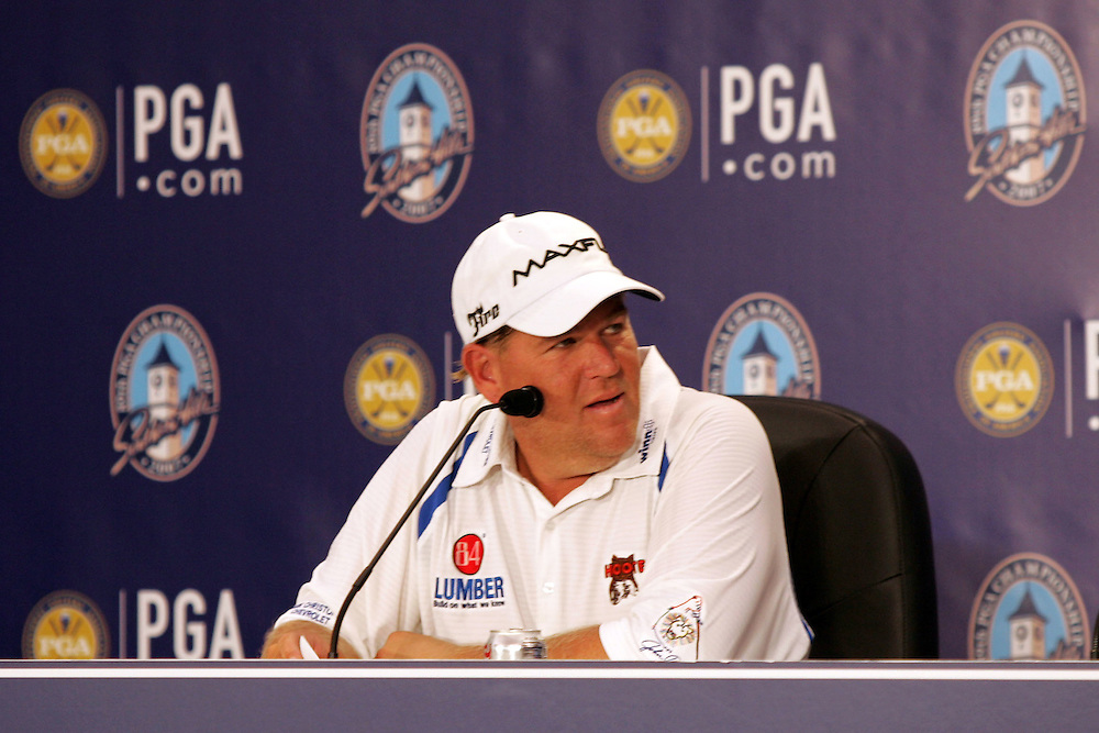 09 August 2007: John Daly address the media after finishing 3-under par during the first round of the 89th PGA Championship at Southern Hills Country Club in Tulsa, OK.