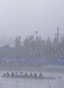 Sydney, AUSTRALIA, Misty and foggy conditions at  Penrith's, West Lakes venue for the 2000 Olympic Regatta. Crews Boating and training   2000 Olympic Regatta, West Lakes Penrith. NSW.  [Mandatory Credit. Peter Spurrier/Intersport Images] Sunrise, Silhouette Sydney International Regatta Centre (SIRC) 2000 Olympic Rowing Regatta00085138.tif