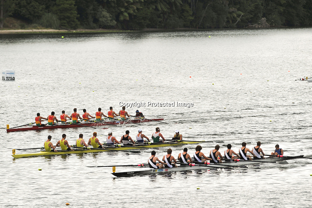 Waikato, Petone and Hawkes Bay fight for line honours in the heat of the Mens Senior 8 on day 2 of racing at The NZ Rowing Champs, Karapiro, 19 February, 2014.