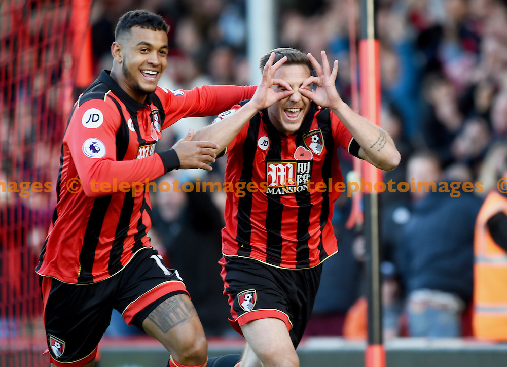 Dan Gosling of Bournemouth Right) celebrates with Joshua King after scoring in the first half during the Premier League match between AFC Bournemouth and Sunderland AFC at the Vitality Stadium in Bournemouth. November 5, 2016.<br /> Simon  Dack / Telephoto Images<br /> +44 7967 642437