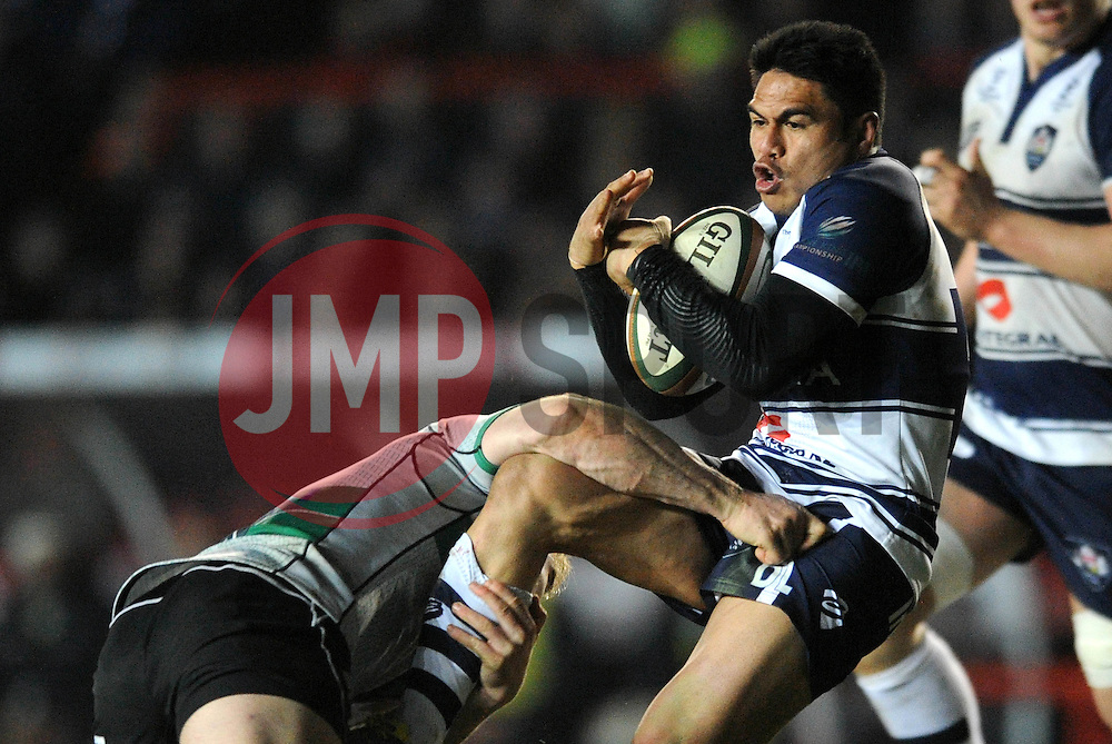 Bristol Rugby's David Lemi is tackled by Nottingham Rugby's Heath Stevens - Photo mandatory by-line: Dougie Allward/JMP - Mobile: 07966 386802 - 06/03/2015 - SPORT - Rugby - Bristol - Ashton Gate - Bristol Rugby v Nottingham Rugby - Greene King IPA Championship