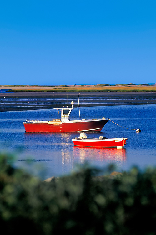 Lobster boat anchored in Nauset Harbor, Orleans, Caope Cod.