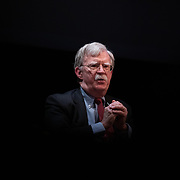 DURHAM, NC - FEBRUARY 17: Former national security adviser, John Bolton, takes part in a public discussion on stage inside Page Auditorium at Duke University in Durham, NC on February 17, 2020. Bolton was invited to the school to discuss national security weeks after he was thought of as a key witness in the impeachment trial of President Donald Trump. (Photo by Logan Cyrus for AFP)