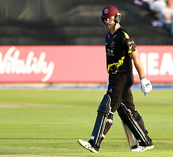 Somerset's Corey Anderson heads back to the pavilion<br /> <br /> Photographer Simon King/Replay Images<br /> <br /> Vitality Blast T20 - Round 1 - Somerset v Gloucestershire - Friday 6th July 2018 - Cooper Associates County Ground - Taunton<br /> <br /> World Copyright © Replay Images . All rights reserved. info@replayimages.co.uk - http://replayimages.co.uk