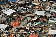 Boats moored in Dubai creek. Dubai, United Arab Emirates.