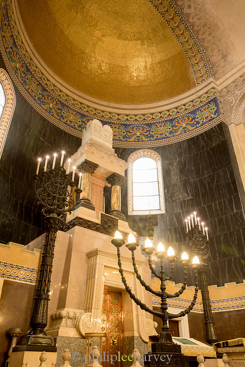 View of indoor of Synagogue of Trieste - Jewish house of worship located in city of Trieste, Italy