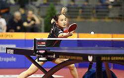 30.01.2016, Max Schmeling Halle, Berlin, GER, German Open 2016, im Bild Mima Ito (JPN) bei der Ballannahme // during the table Tennis 2016 German Open at the Max Schmeling Halle in Berlin, Germany on 2016/01/30. EXPA Pictures © 2016, PhotoCredit: EXPA/ Eibner-Pressefoto/ Wuest<br /> <br /> *****ATTENTION - OUT of GER*****