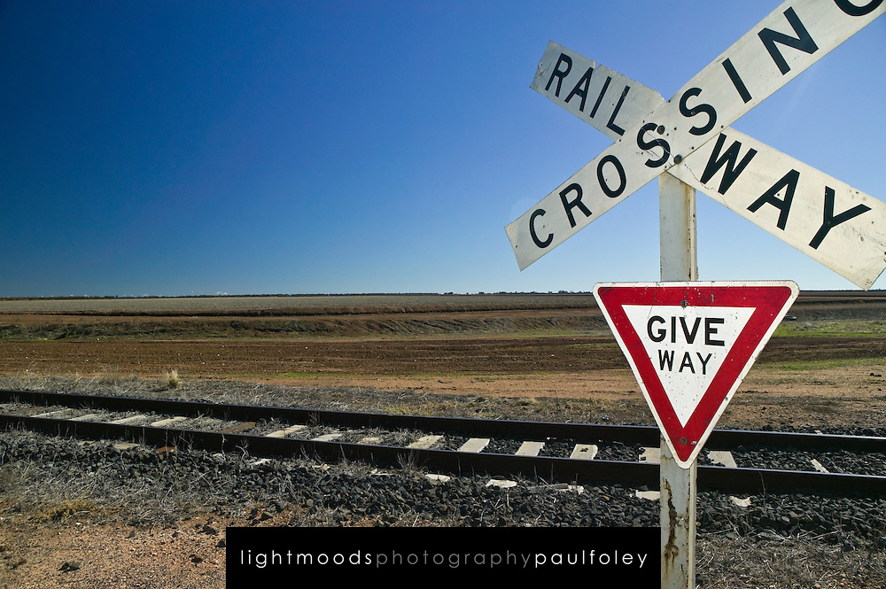 Railway Crossing Signs, Outback Australia