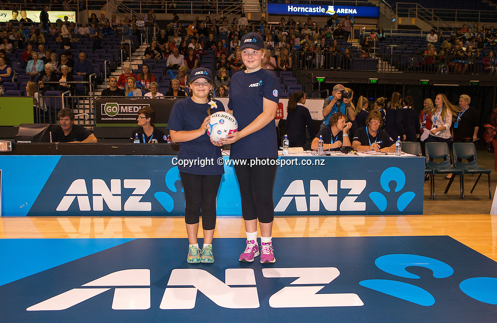 ANZ Future Captains Emily Harris and Jess Hunter-Brady before the ANZ Championship Netball game between the Tactix v Steel at Horncastle Arena in Christchurch. 6th April 2015 Photo: Joseph Johnson/www.photosport.co.nz