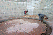 A very wide panoramic view of the Patagonia vineyard. The future bottle aging cellar. Mason building with bricks and mortar. Bodega Valle Perdido (previously Arquen) Winery, Neuquen, Patagonia, Argentina, South America