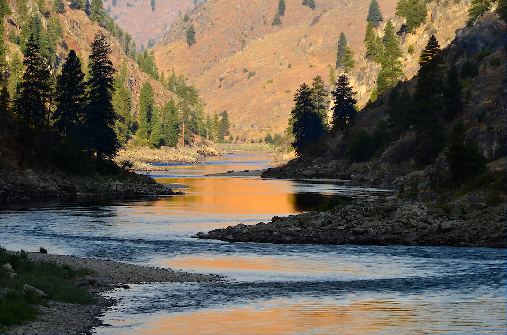 Sunlight reflected on Idaho's Salmon River.