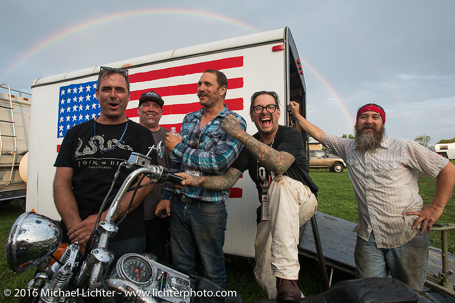 """The """"Chopper Dude"""" team sings """"Somewhere over the Rainbow"""" after the hosted dinner at Coker Tires in Chattanooga, Tennessee after the finish of stage 3 of the Motorcycle Cannonball Cross-Country Endurance Run, which on this day ran from Columbus, GA to Chatanooga, TN., USA. Sunday, September 7, 2014.  Photography ©2014 Michael Lichter."""