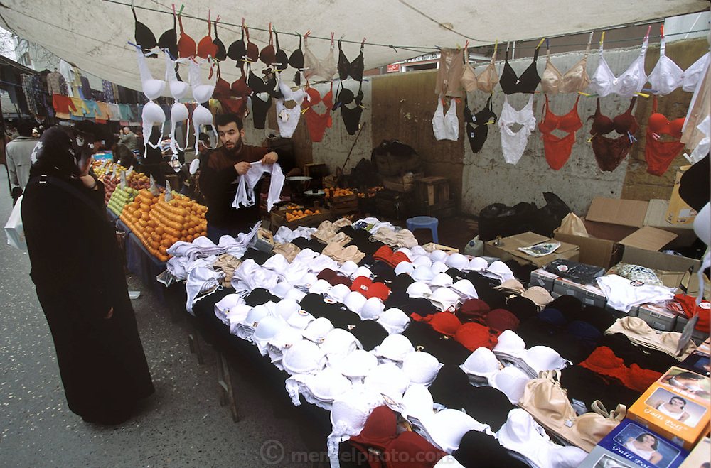 Fruit, vegetable and women's intimate apparel for sale in the Golden Horn area of Istanbul, Turkey. (Supporting image from the project Hungry Planet: What the World Eats)