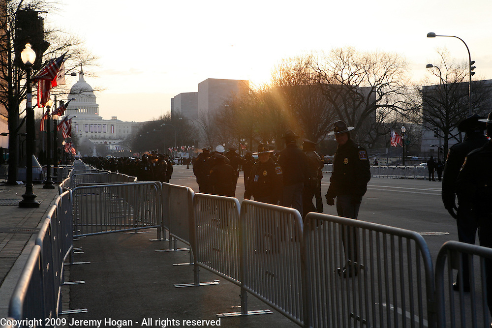 Police line Pennsylvania Avenue on the morning of Barack Obama's inauguration.