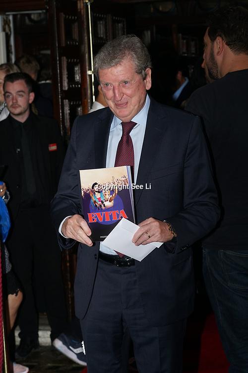 Phoenix Theatre, London,UK. 2nd August 2017. Roy Hodgson attends Evita - Press Night.