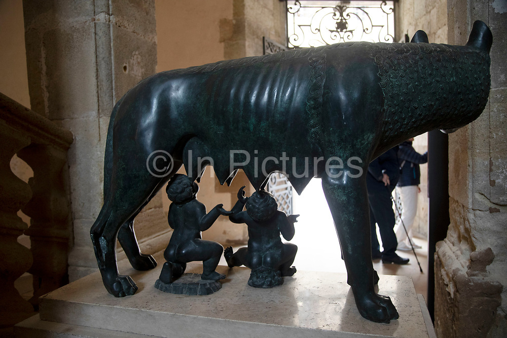 Capitoline Wolf suckling the twins Romulus and Remus in Narbonne, France. This is a symbol of Rome. The statue was favoured by Italian dictator Benito Mussolini, who donated copies of the statues to various places around the world.