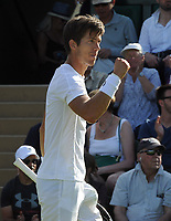 Tennis - 2017 Wimbledon Championships - Week One, Monday [Day One]<br /> <br /> Men's Singles, First Round match<br /> <br /> Ivo Karlovic (Cro) vs Aljaz Bedene (GBR) <br /> <br /> Aljaz Bedene celebrates winning the 2nd set on court 3<br /> He went on to win in five sets<br /> <br /> COLORSPORT/ANDREW COWIE