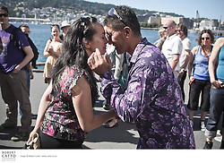 New Zealand International Arts Festival staff welcome guest artists and crew with a traditional powhiri at the Pacific Blue Festival Club.