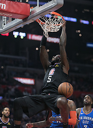 March 8, 2019 - Los Angeles, California, U.S - Montrezl Harrell #5 of the Los Angeles Clippers dunks the ball during their NBA game with the Oklahoma Thunder on Friday March 8, 2019 at the Staples Center in Los Angeles, California. JAVIER ROJAS/PI (Credit Image: © Prensa Internacional via ZUMA Wire)
