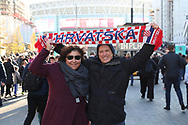 Croatia fan in front of Wembley Stadium during the UEFA Nations League match between England and Croatia at Wembley Stadium, London, England on 18 November 2018.