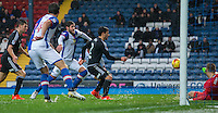 Blackburn Rovers' Danny Graham reacts quickest to a parried save from Brentford's Daniel Bentley, to score his side's first goal<br /> <br /> Photographer Alex Dodd/CameraSport<br /> <br /> The EFL Sky Bet Championship - Blackburn Rovers v Brentford - Saturday 19th November 2016 - Ewood Park - Blackburn<br /> <br /> World Copyright © 2016 CameraSport. All rights reserved. 43 Linden Ave. Countesthorpe. Leicester. England. LE8 5PG - Tel: +44 (0) 116 277 4147 - admin@camerasport.com - www.camerasport.com