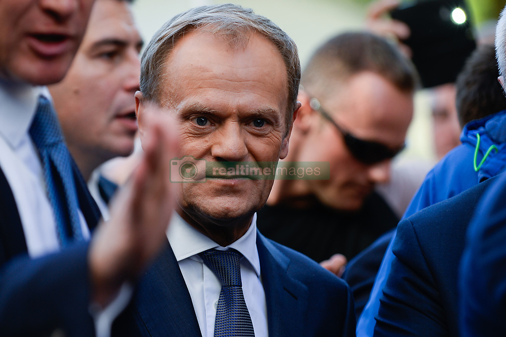 October 6, 2018 - Krakow, Poland - The President of European Council, DONALD TUSK speaks to Krakow citizens as he makes his way through the Main Square during18th International Conference 'The role of the Catholic Church in the process of European integration.' (Credit Image: © Omar Marques/SOPA Images via ZUMA Wire)