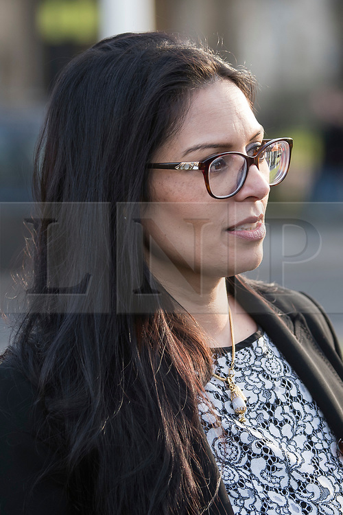© Licensed to London News Pictures. 26/03/2018. London, UK. Conservative MP PRITI PATEL joins a demonstration outside the Houses of Parliament in London held by Members of the Jewish community and Jewish leaders, against Jeremy Corbyn, who they accuse of not acting on anti-semitic behaviour in the Labour Party. Photo credit: Ben Cawthra/LNP