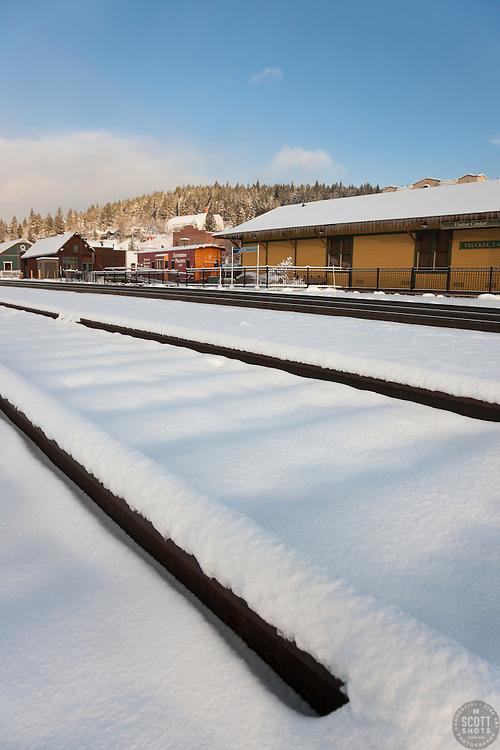 """Snowy Truckee Train Tracks 4"" - Photograph of fresh snow on train tracks in Downtown Truckee, California."