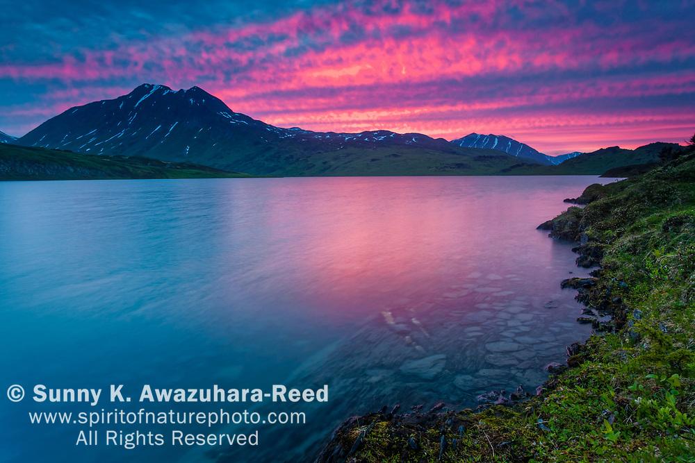 Magenta sky reflects on Lost Lake at dusk, Chugach National Forest, Kenai Peninsula, Southcentral Alaska, Summer.