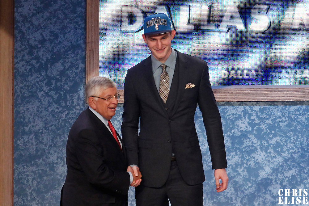 28 June 2012: Tyler Zeller, picked up by the Dallas Mavericks, poses with David Stern during the 2012 NBA Draft, at the Prudential Center, Newark, New Jersey.