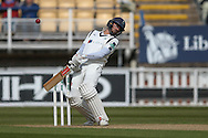 Yorkshire Jack Leaning  evades a speedy delivery during the Specsavers County Champ Div 1 match between Warwickshire County Cricket Club and Yorkshire County Cricket Club at Edgbaston, Birmingham, United Kingdom on 24 April 2016. Photo by Simon Davies.