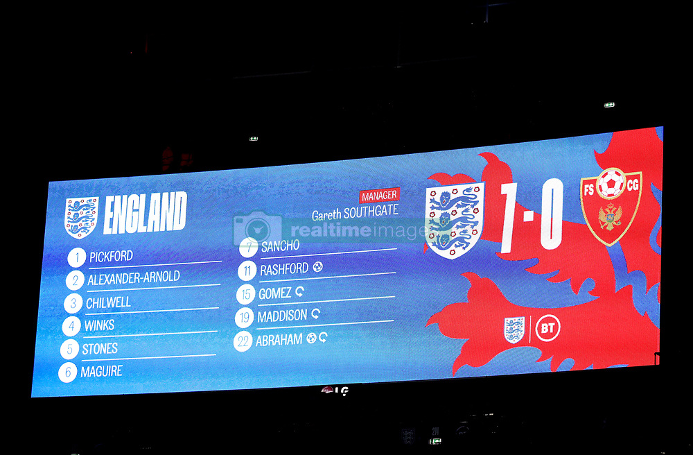 A general view of the big screen with the final score between England v Montenegro at full time