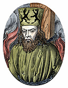 Jan Huss (1369-1415)  Heretical Bohemian theologian.  Burnt at Constance for preaching the teachings of  Wycliffe.  Woodcut from Hartmann Schedel 'Liber chronicarum mundi' ('Nuremberg Chronicle') Hartmann Schedel (1493).  Woodcut. Hand-coloured