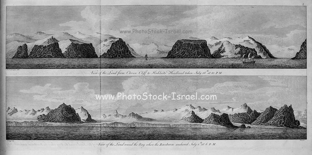 landscape of the polar region from the book '  A voyage towards the North Pole : undertaken by His Majesty's command, 1773 ' by Constantine John Phipps, Baron Mulgrave, 1744-1792; The 1773 Phipps expedition towards the North Pole was a British Royal Navy expedition in which two ships under the commands of Constantine John Phipps as Captain of the HMS Racehorse [an 18-gun ship-rigged sloop of the Royal Navy.] and Skeffington Lutwidge as Captain of the HMS Carcass [a bomb vessel of the Royal Navy], sailed towards the North Pole in the summer of 1773 and became stuck in ice near Svalbard. A young Horatio Nelson. was a midshipmen onboard the ' Carcass ' on this expedition