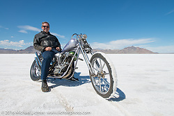 Bill Buckingham on his 1923 Harley-Davidson J model custom chopper (that won top honors at Born Free 6) after the Panorama portrait on the Bonneville Salt Flats during stage 12 (299 m) of the Motorcycle Cannonball Cross-Country Endurance Run, which on this day ran from Springville, UT to Elko, NV, USA. Wednesday, September 17, 2014.  Photography ©2014 Michael Lichter.