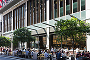 Restaurants and cafés line the streets of Barangaroo. They are situated directly under the Barangaroo Commercial Towers. Lunch time is particularly busy in this exciting new commercial hub of Sydney, Australia.