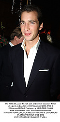 The HON.WILLIAM ASTOR son and heir of Viscount Astor, at a party in London on 5th November 2003.POG 9