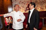NOBU MATSUHISA; BERNARD HENG , The Tomodachi ( Friends) Charity Dinner hosted by Chef Nobu Matsuhisa in aid of the Japanese Tsunami Appeal. Nobu Park Lane. London. 4 May 2011. <br /> <br />  , -DO NOT ARCHIVE-© Copyright Photograph by Dafydd Jones. 248 Clapham Rd. London SW9 0PZ. Tel 0207 820 0771. www.dafjones.com.