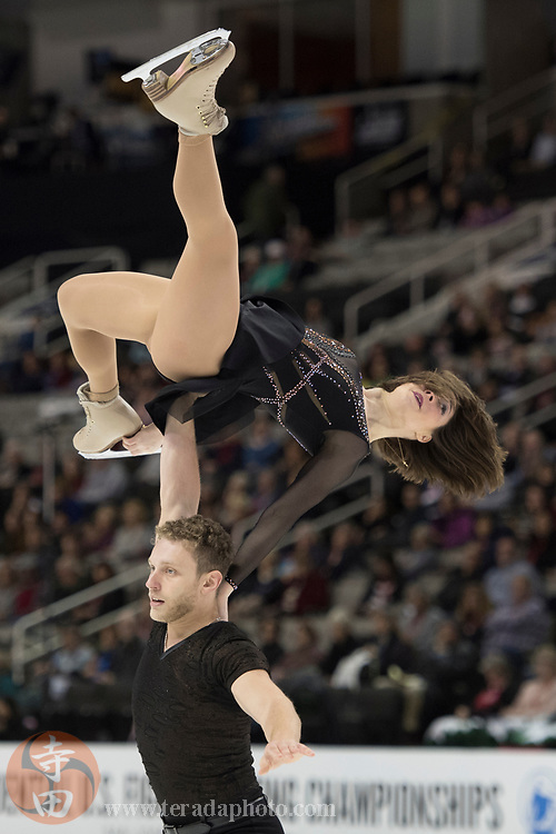 January 4, 2018; San Jose, CA, USA; Allison Timlen and Justin Highgate-Brutman perform in the pairs short program during the 2018 U.S. Figure Skating Championships at SAP Center.