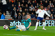 Demarai Gray of England U21's cross deflects off Maximilian Mittelstadt of Germany U21's for a corner during the U21 International match between England and Germany at the Vitality Stadium, Bournemouth, England on 26 March 2019.